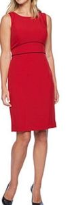 🌸FULLY LINED RUBY RED AND BLACK TRIM DRESS🌸